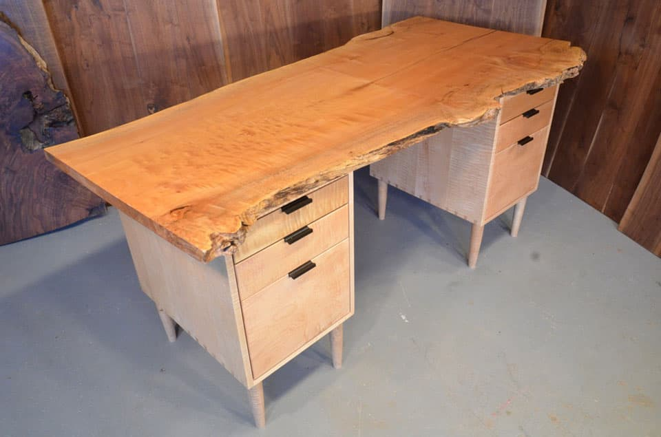 #1 Burled Maple Slab Custom Executive Desk with Curly Maple Pedestal Base_1