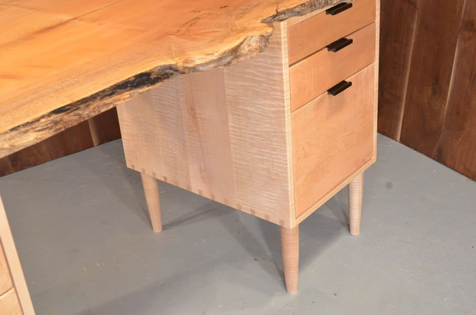 Burled Maple Slab Custom Executive Desk With Drawers