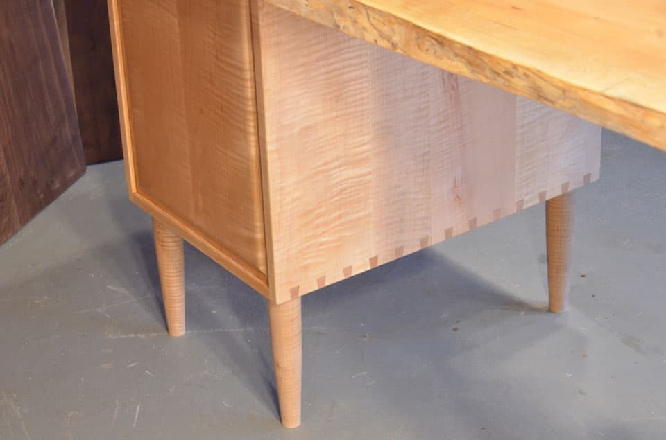 Burled Maple Slab Custom Executive Desk Bottom
