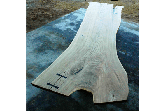 Large, Huge Siberian Elm Wood Slab Rustic Dining Table with natural edges