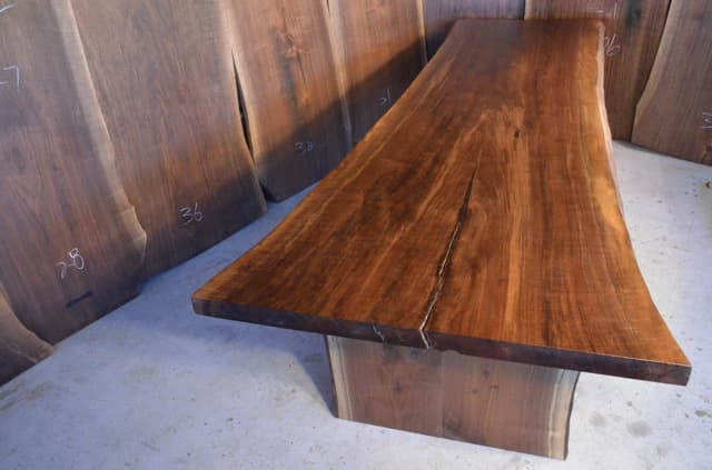 Long Natural Edge Walnut Dining Table