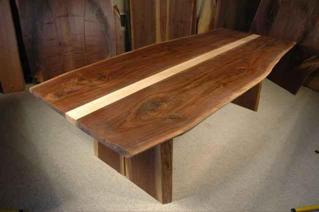 Custom Walnut And Curly Maple Slab Dining Table