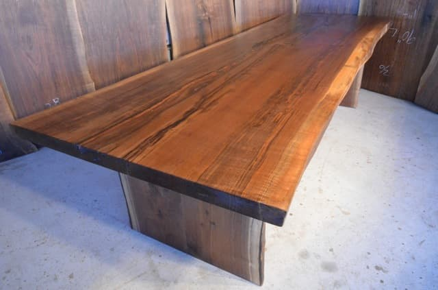 113 Long Custom Curly Walnut Dining Table