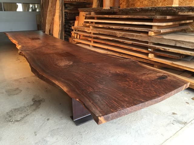 Single Walnut Slab Conference Table With Steel I Beam Base