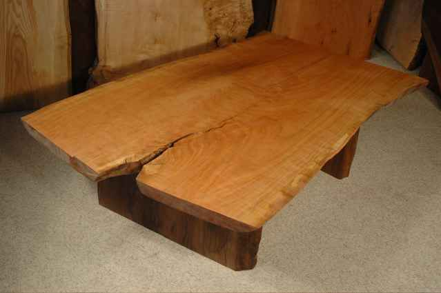 5′ Cherry Crotch Slab Custom Nakashima Style Wooden Coffee Table
