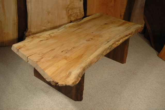 5′ Maple Slab Custom Nakashima Style Coffee Table with Walnut Slab Base