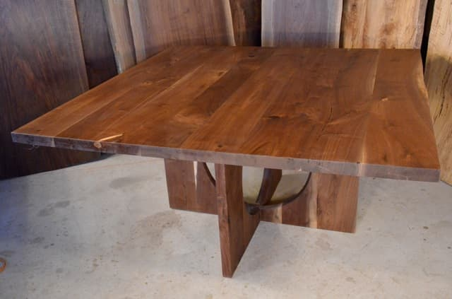5 Foot Walnut Dining Table With Circle Cut Base
