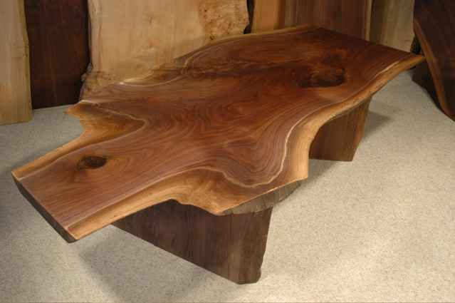 6' Irregular Walnut Crotch Custom Rustic Slab Coffee Table