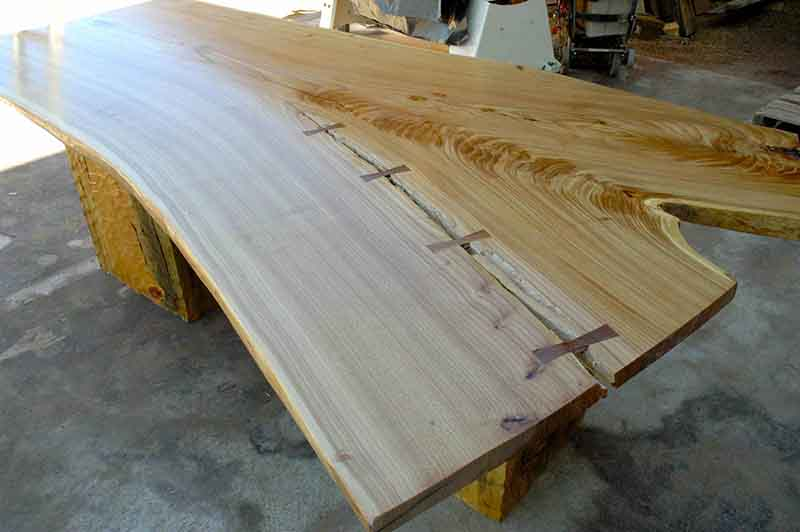 Organic Shaped Siberian Elm Wood Slab Rustic Dining Table