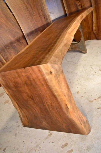 7' Walnut Table with Mitered Corner and Salvaged Steel Base_2