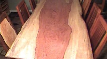 8' Bubinga Slab Custom Dining Table 1