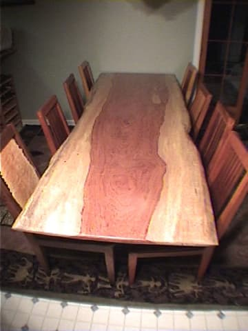 bubinga slab custom dining table by dumond 39 s custom furniture