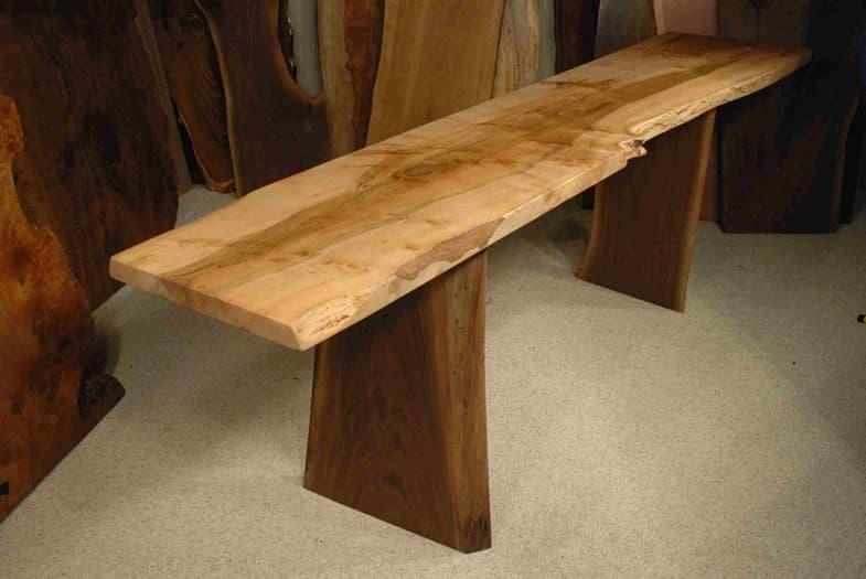 92 long reclaimed maple slab desk by dumond 39 s custom for Maple wood slab