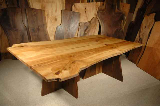 Ash Slab Dining Table With Double Walnut Pedestal Base