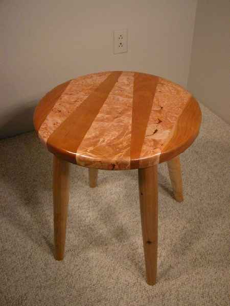 Burled Big Leaf Maple and Cherry Custom Wooden Stool