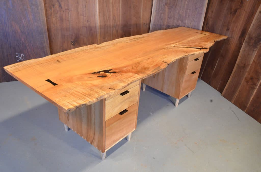 Burled Maple Slab Custom Executive Desk with Sycamore Pedestal Base _1