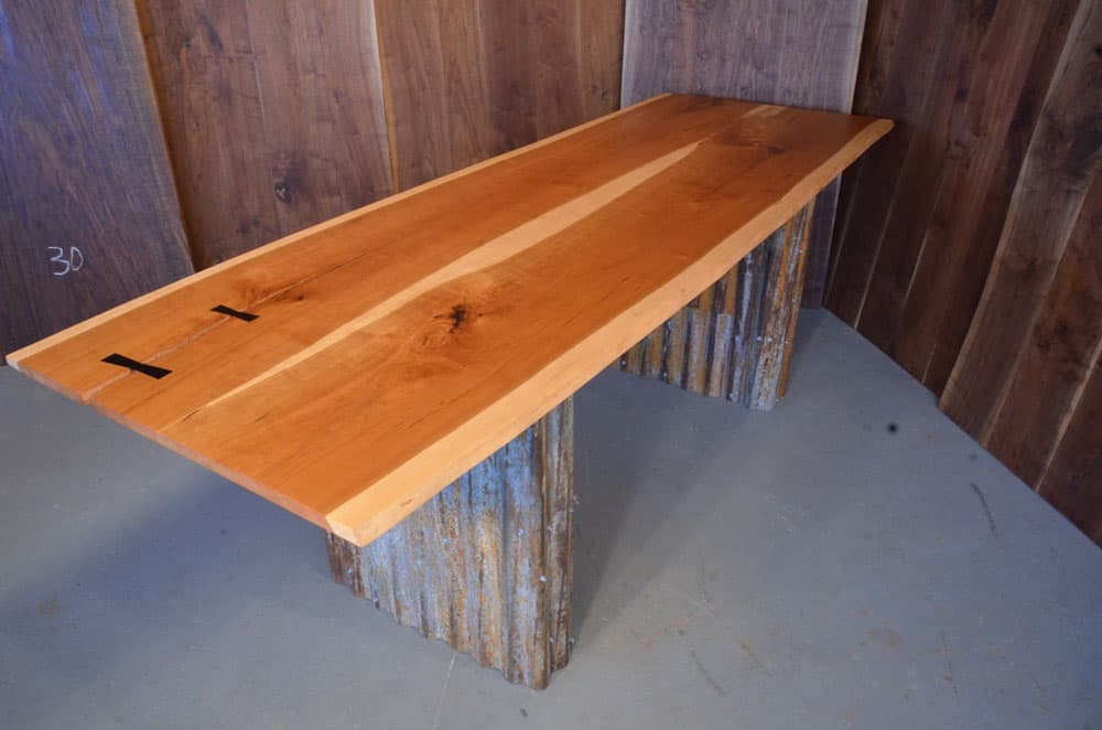 Cherry Slab Custom Executive Desk with Reclaimed Corrugated Steel Pedestal Base_1