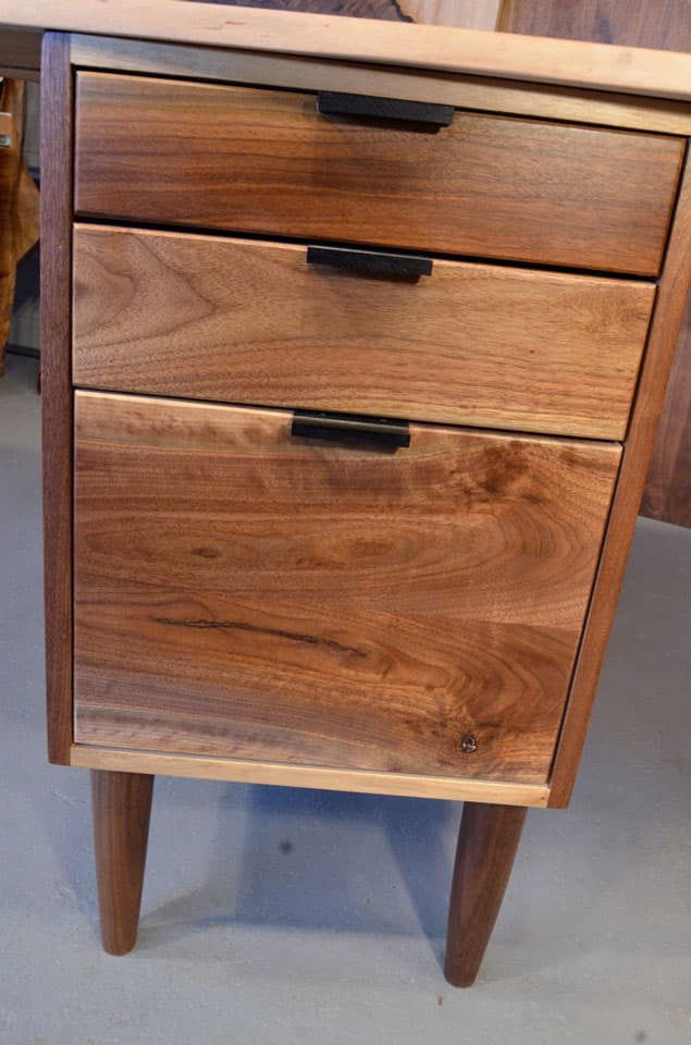 Cherry Slab Custom Executive Desk with Walnut Pedestal Base_5