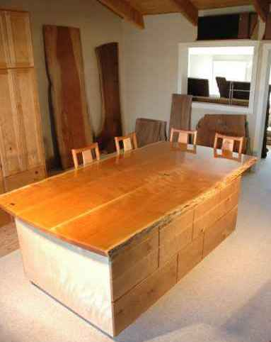 Custom Cherry Slab Kitchen Island