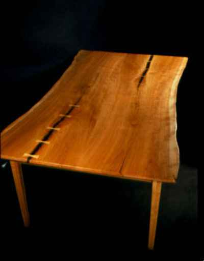 Cherry Slab Custom Rustic Handmade Dining Table With Butterfly Accents