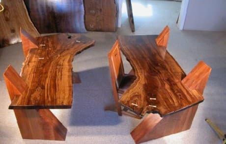 Claro Walnut Slab Cantilevered Custom Desks 1