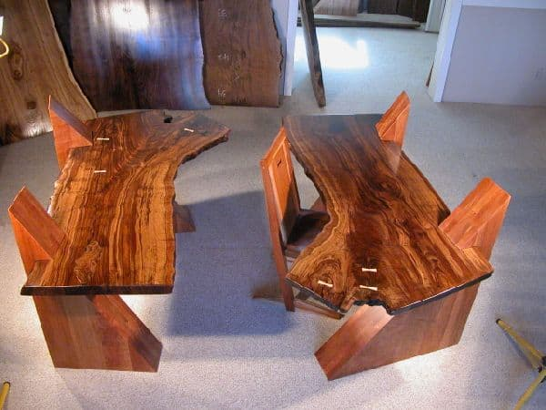 Claro Walnut Slab Cantilevered Custom Desks