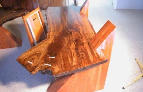 Claro Walnut Slab Cantilevered Custom Desks 3