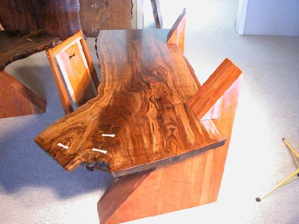 Claro Walnut Slab Cantilevered Custom Desks 3