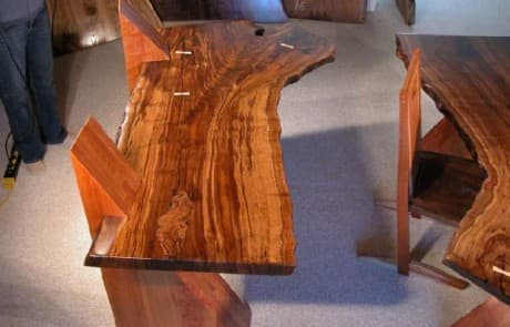 Claro Walnut Slab Cantilevered Custom Desks 4