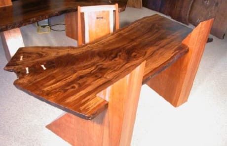 Claro Walnut Slab Cantilevered Custom Desks 5