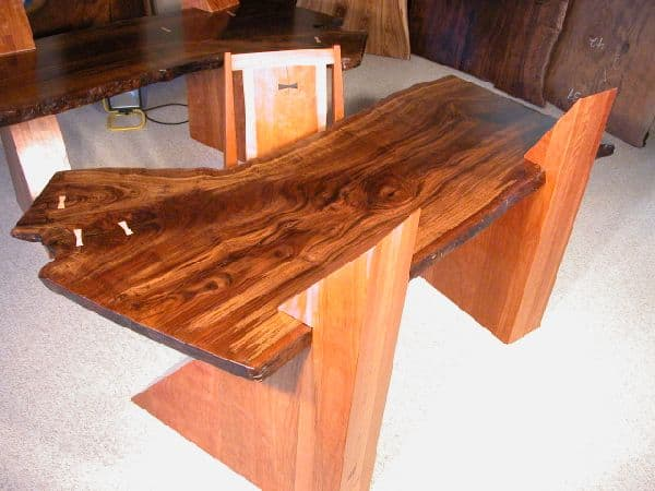 Claro Walnut Slab Cantilevered Custom Desks 5
