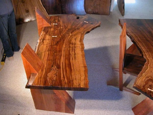 Claro Walnut Slab Cantilevered Desks