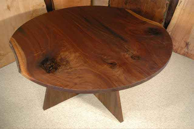 Round Custom Walnut Wood Slab Dining Table
