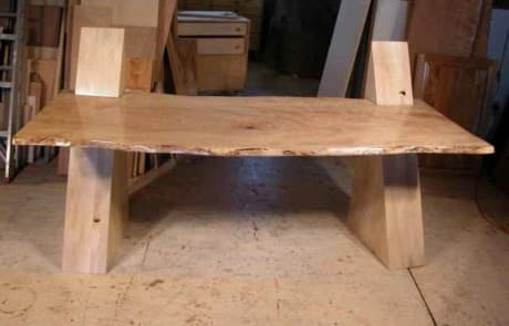 Contemporary Modern Cantilevered Curly Maple Slab Custom Desk 1