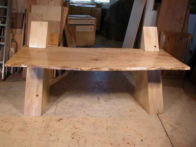 Contemporary Modern Cantilevered Curly Maple Slab Custom Desk
