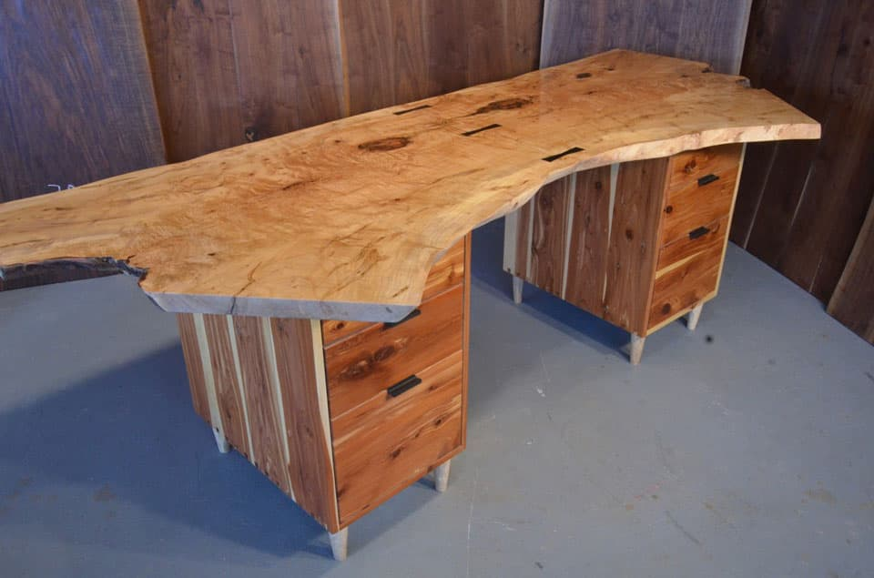 Curly Maple Slab Custom Executive Desk