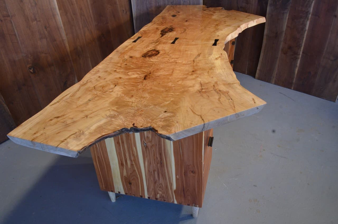 Unique Curly Maple Slab Custom Executive Desk