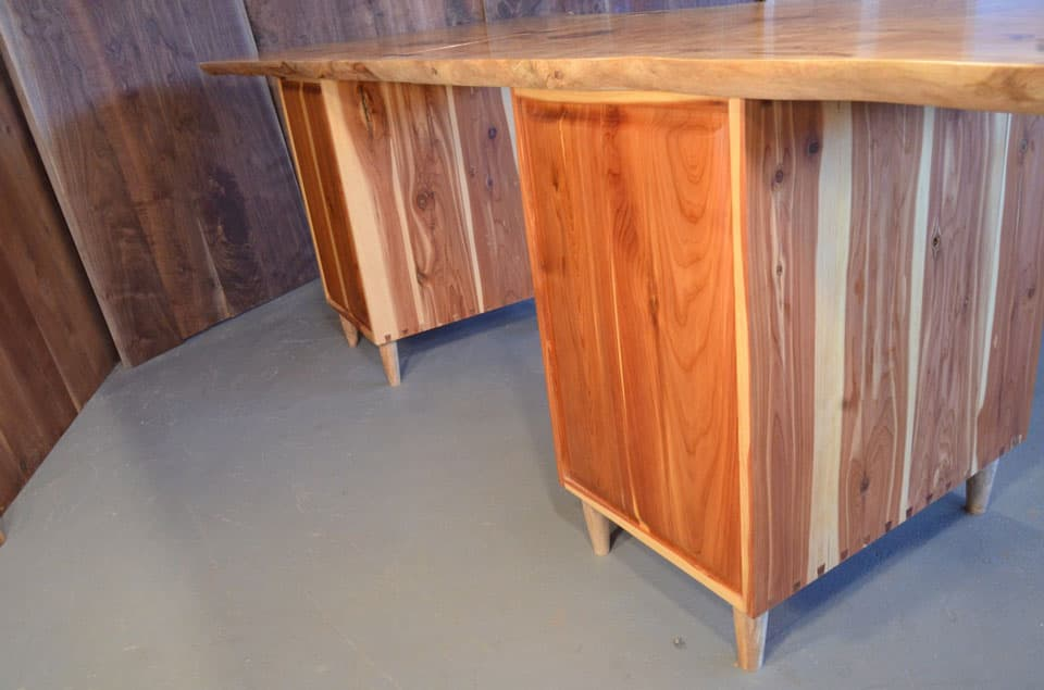 Salvaged Curly Maple Slab Custom Executive Desk