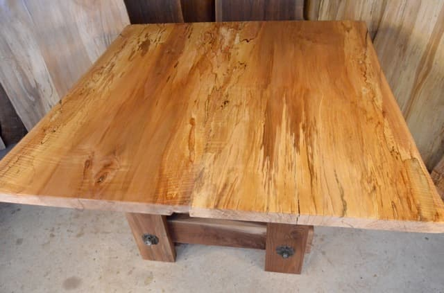Curly Spalted Maple Table with Walnut Timberframe Base2