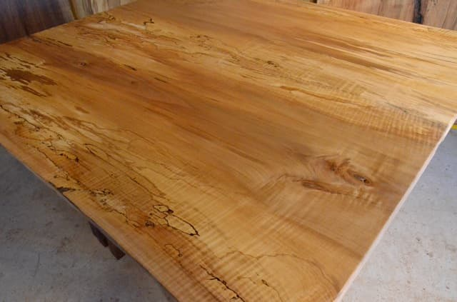 Curly Spalted Maple Table with Walnut Timberframe Base3