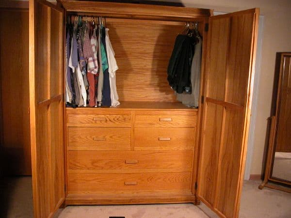 Custom armoire wardrobe media cabinet