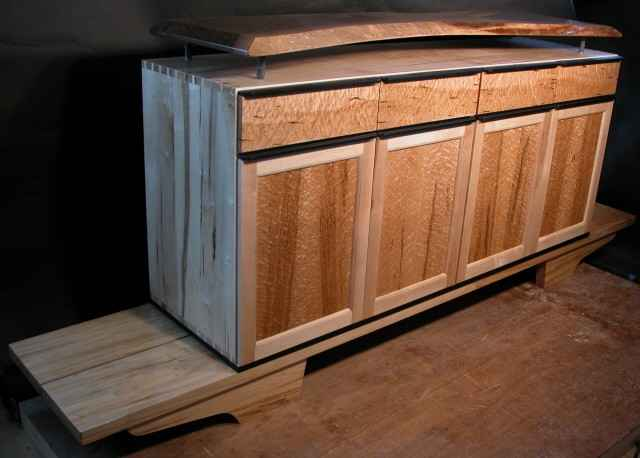 Custom wood audio cabinet with walnut slab top by dumond 39 s for Custom wood cabinets