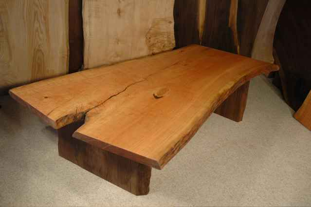 5 Foot Cherry Crotch Slab Coffee Table