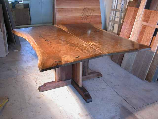 Custom Hand Built Conference Table - Rustic Slab Walnut