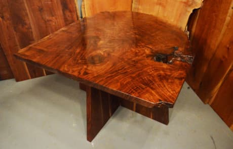 Custom Contemporary Rustic Burl Claro Walnut Slab Table - The Arnold Table 1