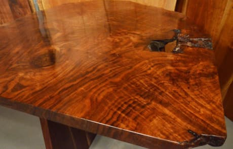 Custom Contemporary Rustic Burl Claro Walnut Slab Table - The Arnold Table 2