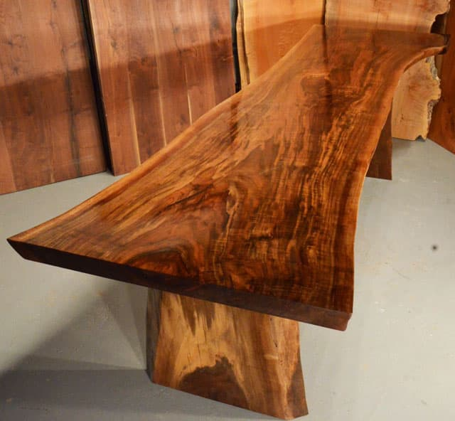 Custom Contemporary Rustic Burl Claro Walnut Slab Table - The Reed Table