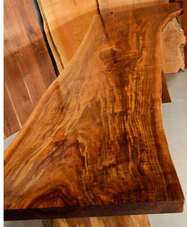Custom Contemporary Rustic Burl Claro Walnut Slab Table - The Reed Table 2