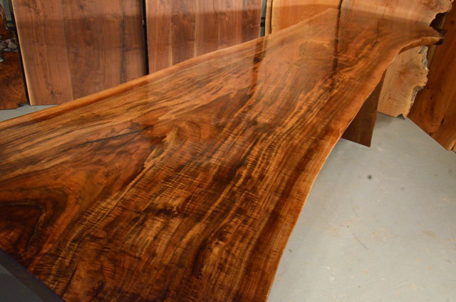 Custom Contemporary Rustic Burl Claro Walnut Slab Table - The Reed Table 3