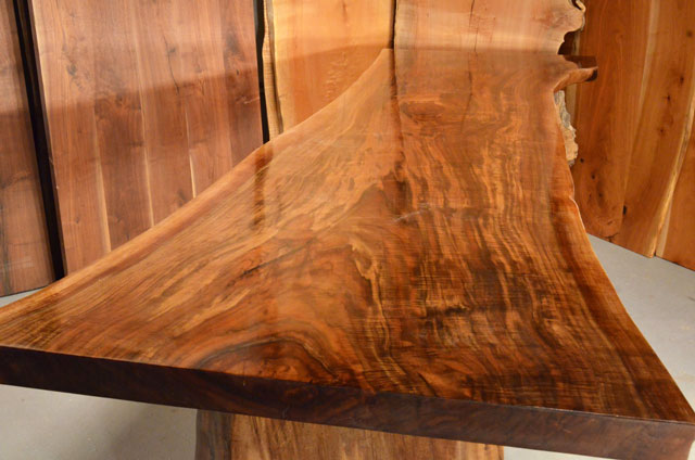 Custom Contemporary Rustic Burl Claro Walnut Slab Table - The Reed Table 5